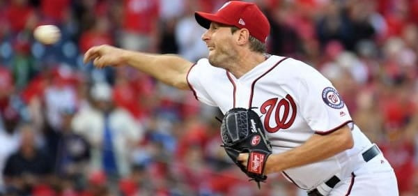 Max Scherzer Nats starting pitcher versus the Cubs
