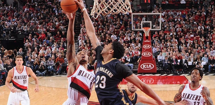 Anthony Davis Pelicans vs Blazers blocking Dam