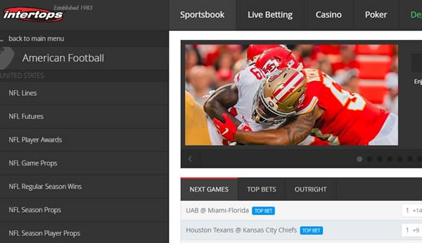 Intertops Sportsbook NFL Kickoff Bonus Offers and Free Bets!